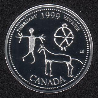 1999 - #2 Proof - Argent - Fevrier - Canada 25 Cents