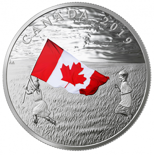 2019 - $20 - 1 oz. Pure Silver Coloured Coin - Canada's National Flag