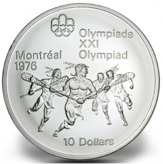 1976 - #09 (1974) - $10 - Sterling Silver Coin, Montreal Summer Olympic Games, Lacrosse