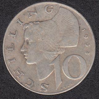 1958 - 10 Schilling - Argent - Austria