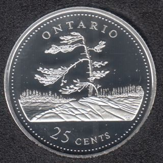 1992 - #8 Proof - Argent - Ontario - Canada 25 Cents