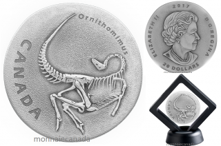 2017 - $20 - 1 oz. Pure Silver Coin - Ancient Canada: Ornithomimus