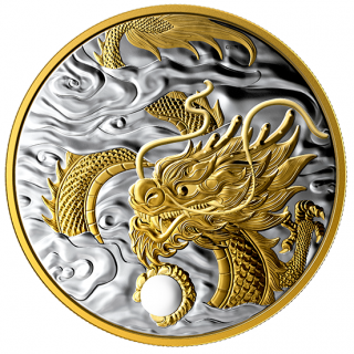 2019 - $125 - 1/2 Kilogram Pure Silver Gold-Plated Coin - Benevolent Dragon