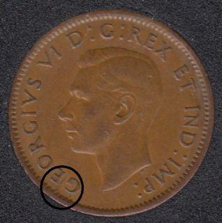 1943 - Break Between E & G - Canada Cent
