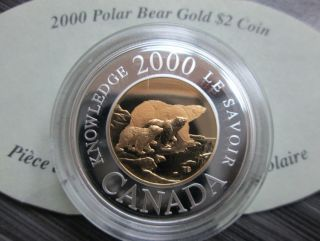 2000 Family of Bears Proof $2 Silver Coin Gold 22 Karat