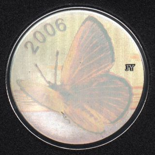 2006 - Proof - Silvery Blue Butterfly - Hologram - Sterling Silver - Canada 50 Cents