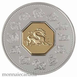 2000 $15 Dollars - Dragon - Lunar Coin - Sterling Silver Gold-Plated