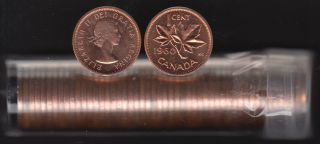 1960 Canada 1 Cent - BU ROLL 50 Coins - UNC - in Plastic Tube