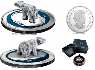 2018 - $50 - 5 oz. Pure Silver Coin - Polar Bear Soapstone Sculpture