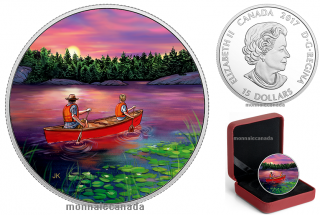 2017 - $15 - Great Canadian Outdoors: Sunset Canoeing - Pure Silver Glow-in-the-Dark Coin