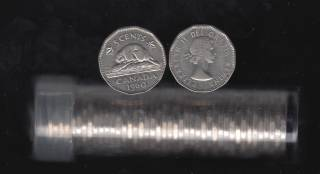1960 Canada 5 Cents - Roll 40 Coins in Plastic Tube