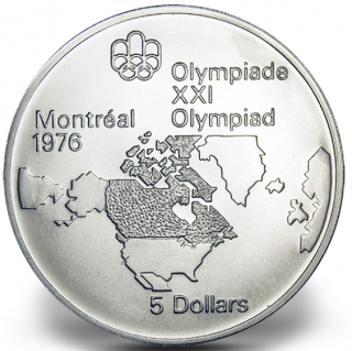 1976 - #02 (1973) - $5 - Sterling Silver Coin, Montreal Summer Olympic Games, Map of North America