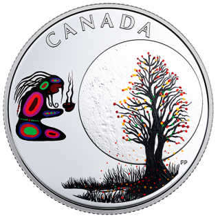 2018 - $3 - Pure Silver Coloured Coin - Thirteen Teachings From Grandmother Moon: Falling Leaves Moon