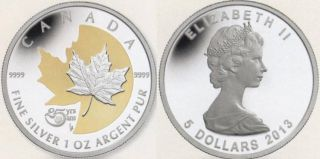 2013 - $5 - 1 oz Fine Silver - 25th Anniversary of the Silver Maple Leaf