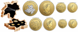 2017 - Pure Gold Maple Leaf Fractional Set – A Celebration of Canada (1867-2017)