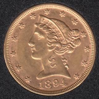US 1894 Liberty Head $5 Dollars Half Eagle Gold Coin