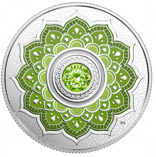 2018 - $5 - 2018 - $5 - August Birthstone - Pure Silver Coin made with Swarovski® Crysta