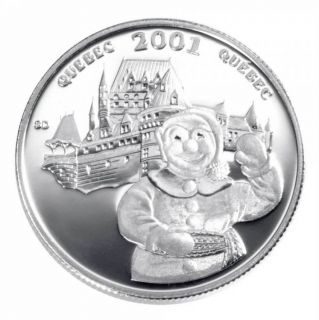 2001 - 50 Cents - Sterling Silver Coin - Quebec Winter Carnaval