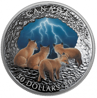 2018 - %50 - 5 oz. Pure Silver Glow-in-the-Dark Coin - Nature's Light Show: Stormy Night