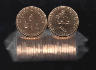 1995 Canada Roll $1 Dollar - Peacekeeper - 25 Coins - UNC