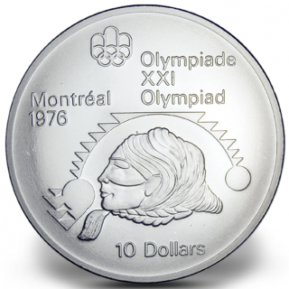 1976 - #15 (1975) - $10 - Sterling Silver Coin, Montreal Summer Olympic Games, Women's Shot Put