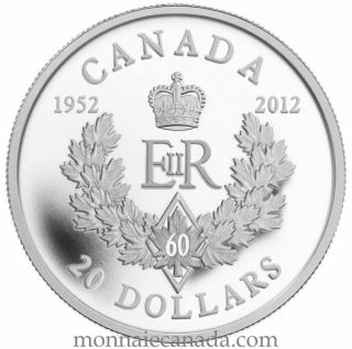 2012 - $20 - Fine Silver Coin - The Queen's Diamond Jubilee (2012) - Royal Cypher