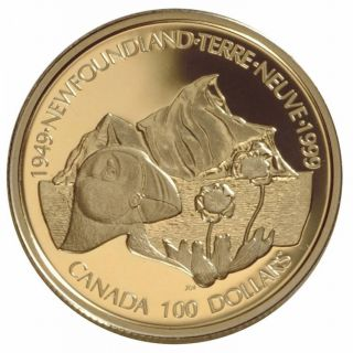 1999 - $100 - Gold 14 K Coin - Symbols of Newfoundland
