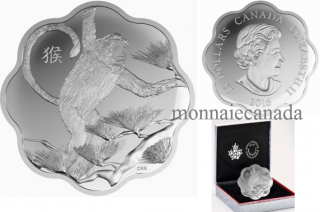 2016 - $15 - Fine Silver Lunar Lotus Coin – Year of the Monkey