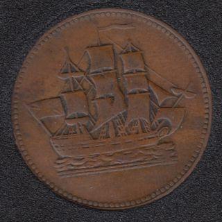 P.E.I. 1835 - Ship Colonies & Commerce - Half Penny Token - PE-10-30