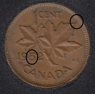 1952 - Double 5 & Break ML to Rim - Canada Cent