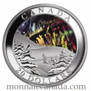 2004 - $20 -FINE SILVER NORTHERN LIGHTS HOLOGRAM