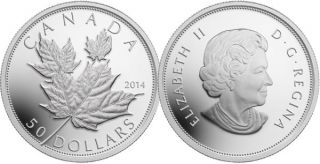 2014 - $50 - 5 oz. Fine Silver Coin - Maple Leaves