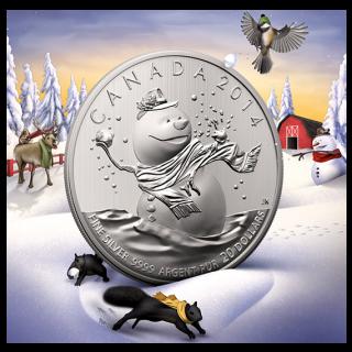 2014 - $20 for $20 - en argent fin - Le bonhomme de neige
