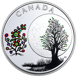 2018 - $3 - Pure Silver Coloured Coin - Thirteen Teachings From Grandmother Moon: Flower Moon