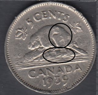 1939 - Planchet Flaw - Canada 5 Cents