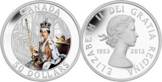 2013 - $50 - 5 oz Fine Silver Coin - Queen's Coronation