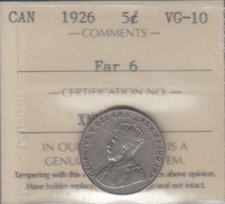 1926 - ICCS - VG 10 - FAR 6 - Canada 5 Cents