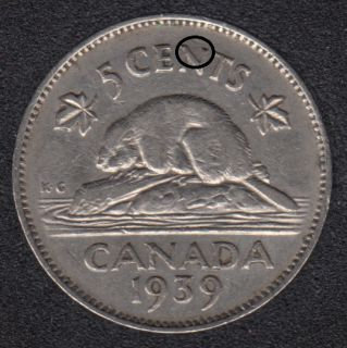 1939 - Die Break in N - Canada 5 Cents