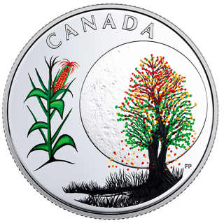 2018 - $3 - Pure Silver Coloured Coin - Thirteen Teachings From Grandmother Moon: Corn Moon