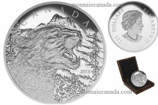 2015 - $125 - Pièce de un demi-kilogramme en argent fin - Le feulement du couguar