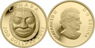 2013 - $200 - GOLD 'Grandmother Moon Mask' Proof Fine Gold