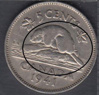 1941 - Bald Beaver - Canada 5 Cents