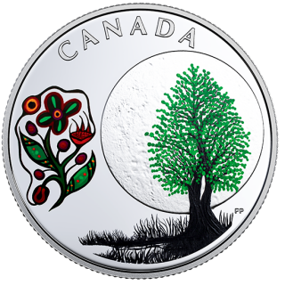 2018 - $3 - Pure Silver Coloured Coin - Thirteen Teachings From Grandmother Moon: Thimbleberry Moon