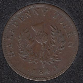 N.S. 1840 Half Penny Token - Medium '0' - VF - NS-1E2