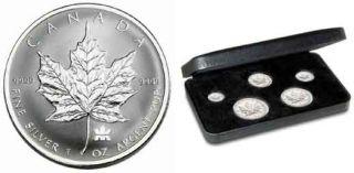 2004 Set of 5 Privy Mark Silver Maple Leafs .9999 Fine