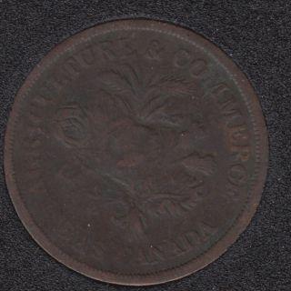L.C. 1838 - Agriculture & Commerce - Banque du Peuple Montreal - Un Sou Token - LC-5A5