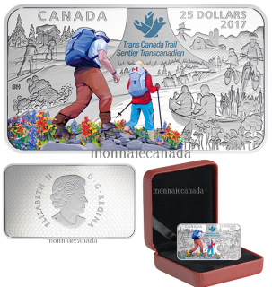 2017 - $25 - The Great Trail - 1.5 oz. Pure Silver Coloured Rectangular Coin