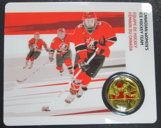 2009 - 25 Cents Vancouver 2010 - Canadian Women's Ice Hockey Team - Coin Sport Card