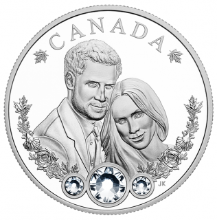 2018 - $20 - 1 oz. Pure Silver Coin made with Swarovski® Crystals - The Royal Wedding of Prince Harry and Ms Meghan Markle
