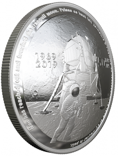 2019 - $25 - Pure Silver Coin - 50th Anniversary of the Apollo 11 Moon Landing